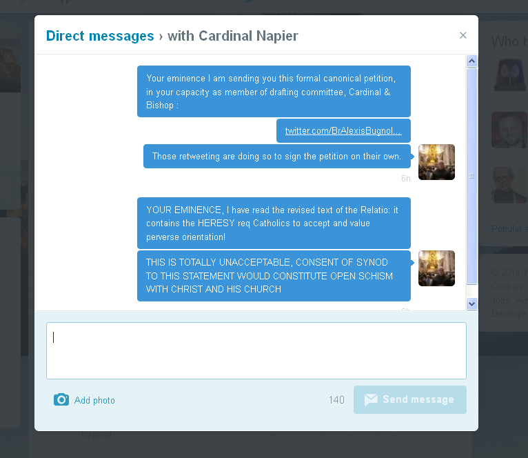 Direct Message from @BrAlexisBugnolo to @CardinalNapier on Twitter, presenting the Petition re Fidelity to Christ