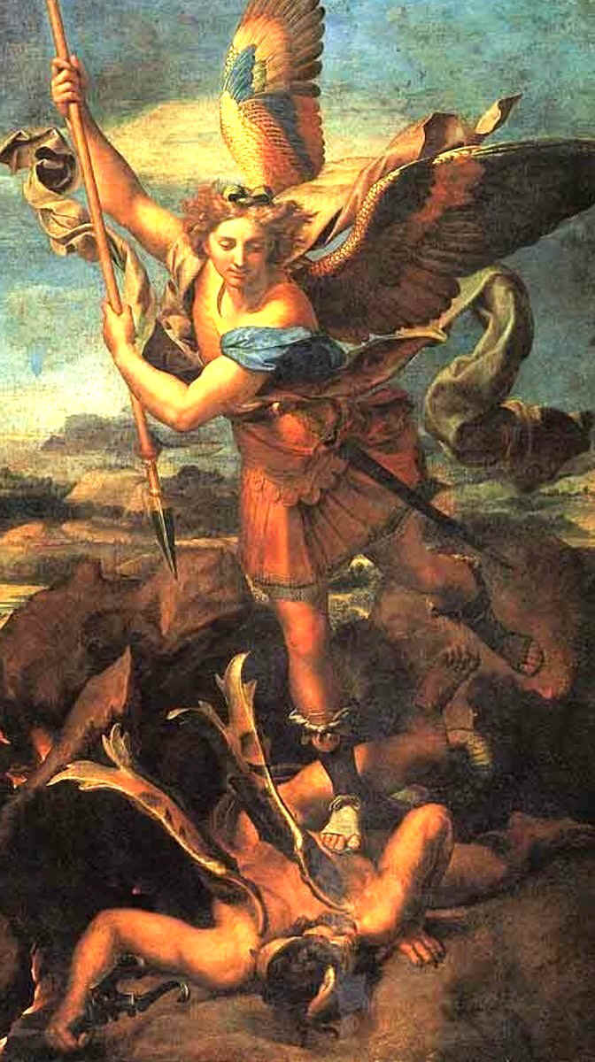 St. Michael the Archangel, the first Saint, on account of his declaration of war against Lucifer