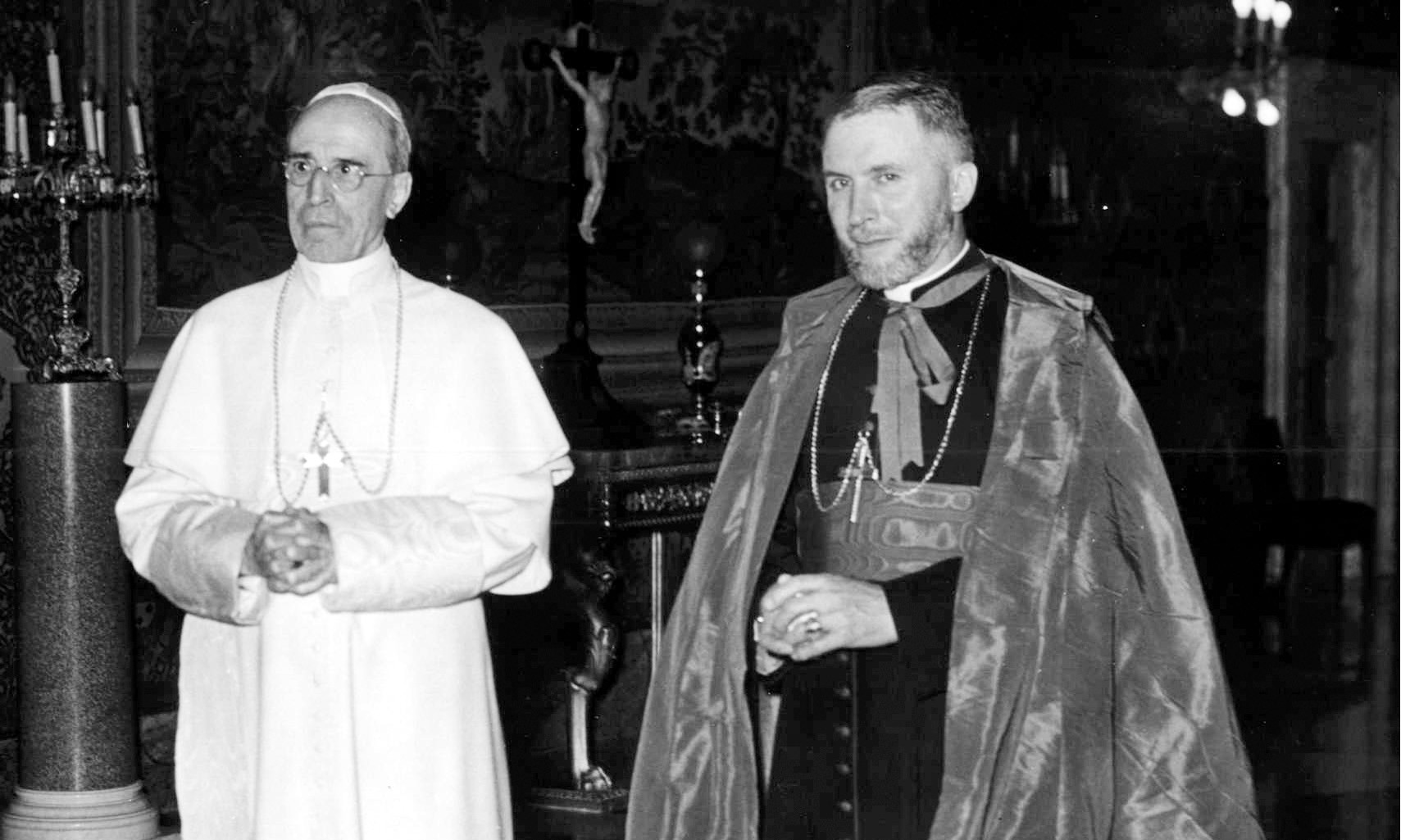 Pope Pius XII and his Apostolic Delegate Marcel Lefebvre.