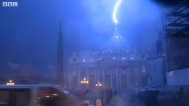 BBC captures Lightning strike on dome of St Peter's Basilica, evening of Feburary 11, 2013.