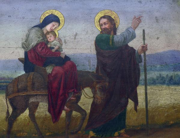 St Joseph leads the Holy Family into Egypt to escape the murderous conspiracy of King Herod