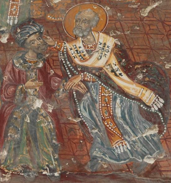 St Nicholas of Myra slapping Arius at the Council of Nicaea. Icon at Soumela Monastery, Maçka/Trabzon, Turkey.