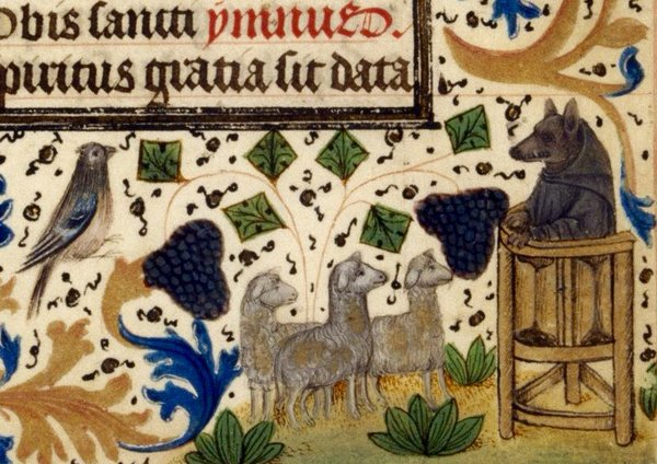 The False Shepherd, an detail of the illumination from the manuscript Douce 266 in the Bodleian Library