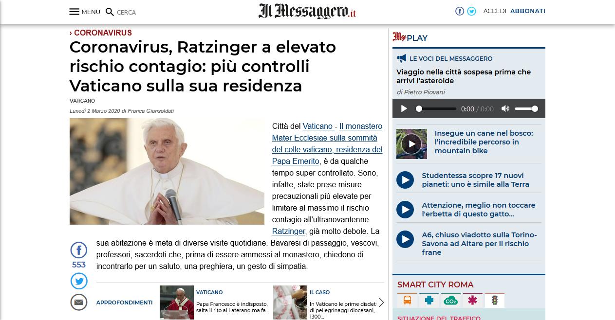 Screenshot_2020-03-03 Coronavirus, Ratzinger a elevato rischio contagio più controlli Vaticano sulla sua residenza