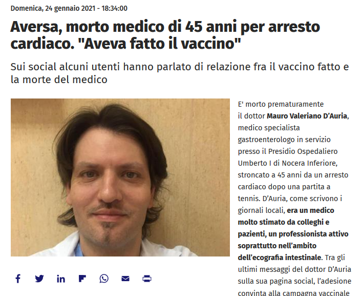 Italian Doctor takes Vaxx and drops dead from heart attack